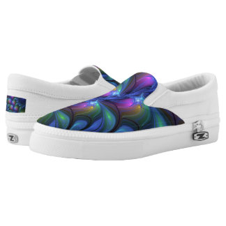 Colorful Luminous Abstract Blue Pink Green Fractal Slip-On Shoes