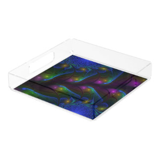 Colorful Luminous Abstract Modern Fractal Art Acrylic Tray