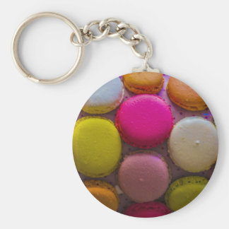 Colorful Macarons Tasty Baked Dessert Basic Round Button Keychain