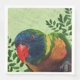 Colorful Macaw Parrot blue Head in Green Leaves Paper Napkins