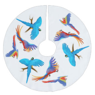 Colorful Macaw Parrots Christmas Tree Skirt