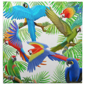 Colorful Macaw Parrots Napkin