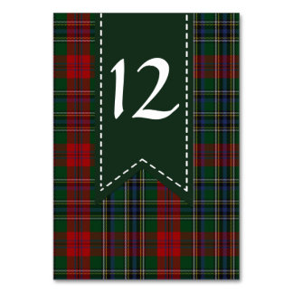 Colorful MacLean Plaid Wedding Table Number