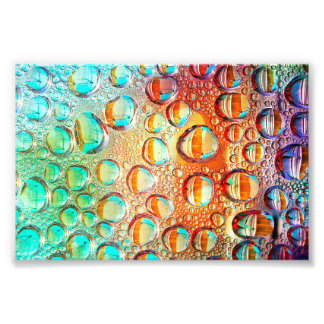 Colorful Macro Water Drops on Glass Photo