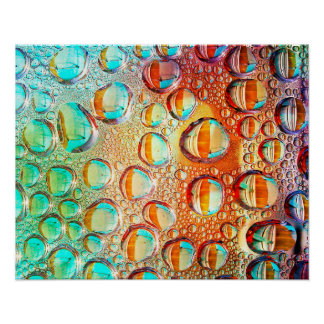 Colorful Macro Water Drops on Glass Photo Poster