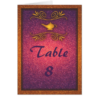 Colorful Magic Lamp Wedding Table Number Card