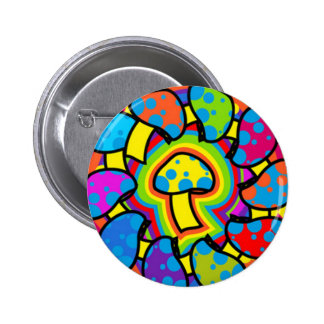 Colorful Magic Mushrooms 6 Cm Round Badge