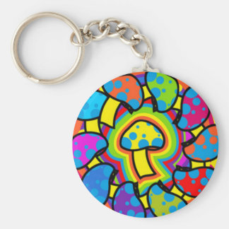 Colorful Magic Mushrooms Basic Round Button Key Ring