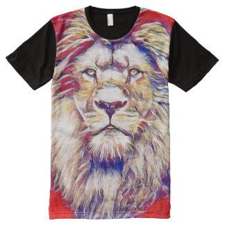 Colorful Majestic Lion Gouache Art All-Over Print T-Shirt