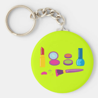 Colorful Makeup Basic Round Button Key Ring