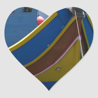 Colorful Maltese Fishing Boat Heart Sticker