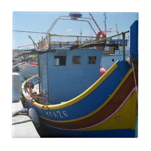 Colorful Maltese Fishing Boat Tiles