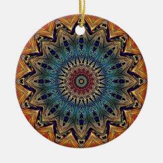 Colorful Mandala Circle  Ceramic Ornament