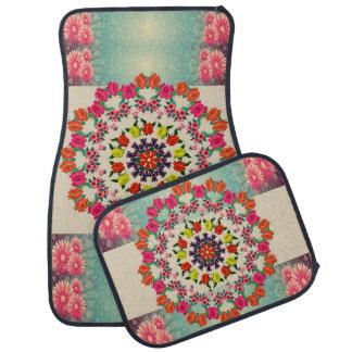 Colorful Mandala Floral Set of Four Car Mats