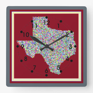 Colorful Map of Texas Square Clock