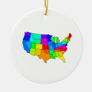 Colorful map of the United States of America Christmas Ornament