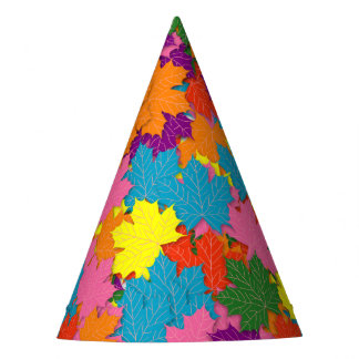 Colorful maple leaves pattern party hat