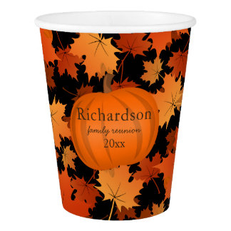 Colorful maple leaves pumpkin fall family reunion paper cup