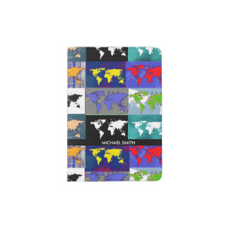 colorful maps of the world passport holder
