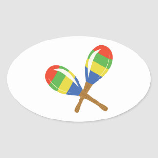 Colorful Maracas Oval Sticker