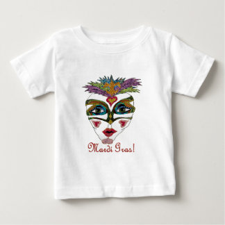Colorful Mardi Gras Glitter Feather Mask Tees
