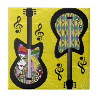 Colorful Mardi Gras Guitars Tile