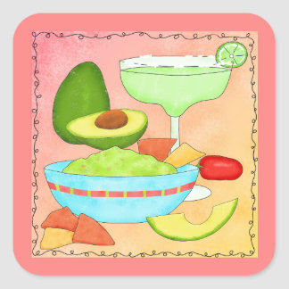 Colorful Margarita Guacamole Fun Celebrate Square Sticker