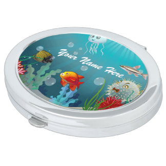 Colorful Marine Creatures Mirror For Makeup