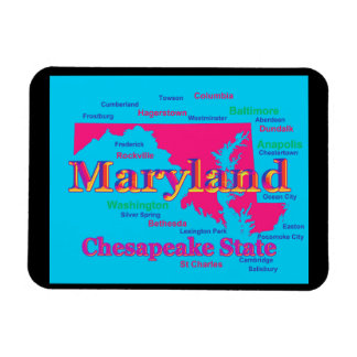Colorful Maryland State Pride Map Silhouette Magnet