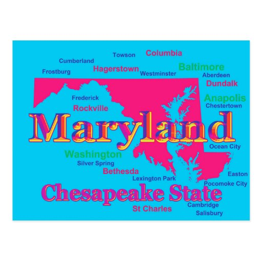 Colorful Maryland State Pride Map Silhouette Post Cards
