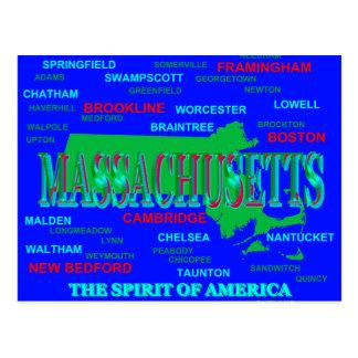 Colorful Massachusetts State Pride Map Silhouette Postcard