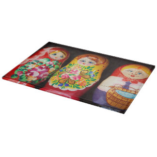 Colorful Matryoshka Dolls Cutting Board