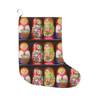 Colorful Matryoshka Dolls Large Christmas Stocking