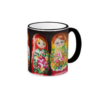 Colorful Matryoshka Dolls Ringer Mug