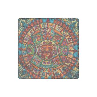 Colorful Mayan Calendar Stone Magnet