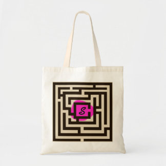 Colorful Maze with Custom Monogram Pink Tote Bag