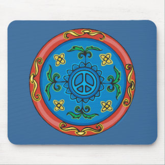 Colorful Medallion Design and Peace Sign Mouse Pad