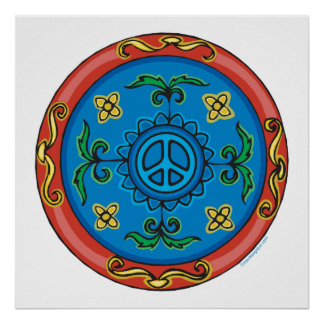 Colorful Medallion Design and Peace Sign Poster