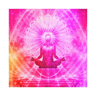 Colorful Meditation Spiritual Yoga Lotus Pose Canvas Print