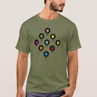 Colorful Melting Vinyl Record Dot Pattern T-Shirt