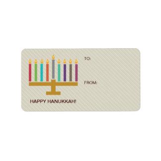 Colorful Menorah Hanukkah Gift Address Label