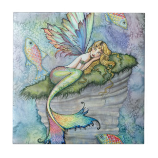 Colorful Mermaid and Carp Fish Fantasy Art Tile