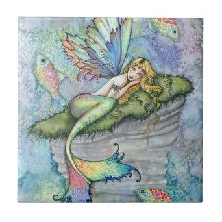Colorful Mermaid and Carp Fish Fantasy Art Tile
