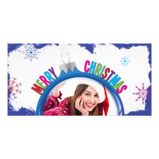 Colorful Merry Christmas Holiday Bulb Photo Card