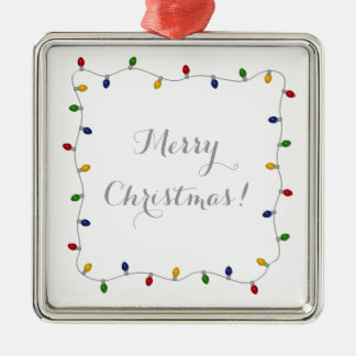 Colorful Merry Christmas Lights Silver-Colored Square Decoration