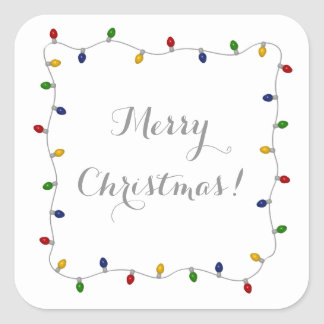 Colorful Merry Christmas Lights Square Sticker