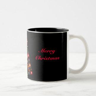 Colorful Merry Christmas Tree Two-Tone Mug
