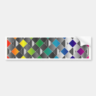 Colorful metal grid bumper stickers