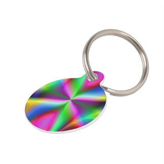 Colorful Metallic Fractal Lustre Pet ID Tag