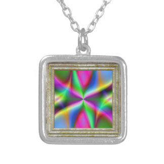Colorful Metallic Fractal Lustre Silver Plated Necklace